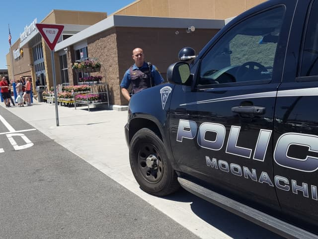 Moonachie Police Officer Andrew Finch outside the Teterboro Walmart.