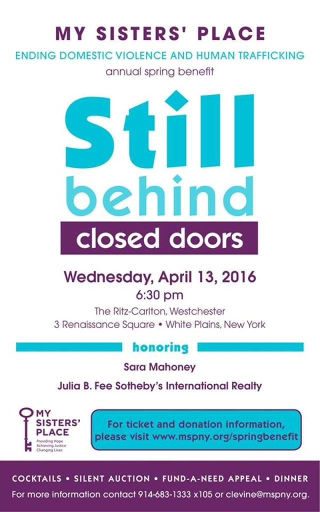 My Sisters' Place's annual Still Behind Closed Doors spring benefit on April 13.