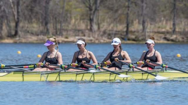 The women's lightweight varsity quad from New Canaan Crew won gold at the Mercer Lake Sculling Championships held April 16 and 17.