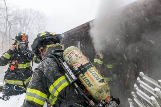 New City firefighters battled a blaze on Old Hempstead Road on Saturday.