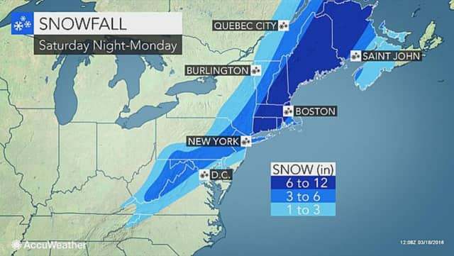 AccuWeather has all of Connecticut in the 6- to 12-inch range for the nor'easter expected to hit Sunday.