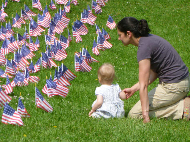 American Flags are a prominent part of the Memorial Day celebrations. Ridgefield will be celebrating Memorial Day on Monday, May 27 with the annual Memorial Day Parade down Main Street.