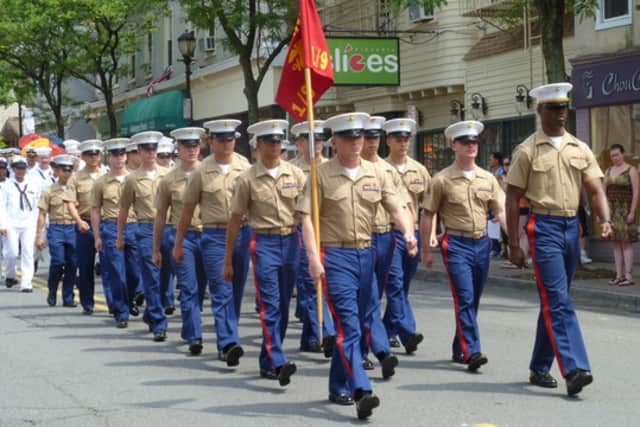 Hastings honored Marines, sailors and cadets as part of its Memorial Day parade last year.