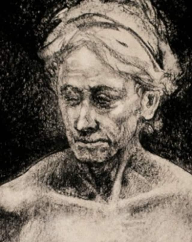 A charcoal drawing by student Christopher Duggan, 2012, was in last year's art showcase at Irrelevant Elephant.
