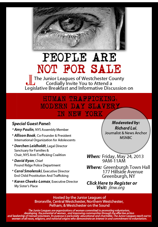 Assemblywoman Amy Paulin will lead the human trafficking discussion in Greenburgh.