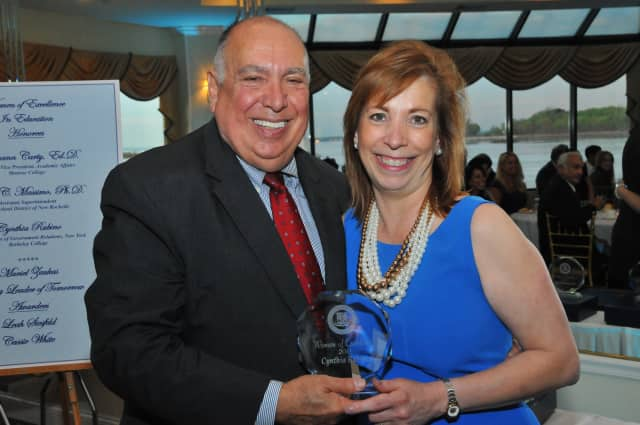 Cynthia Rubino received a Woman of Excellence in Education award from the New Rochelle Chamber of Commerce.