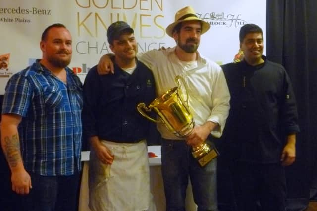 Tarrytown chef Carl Van Dekker, second from right, won the Golden Knives Challenge this week.