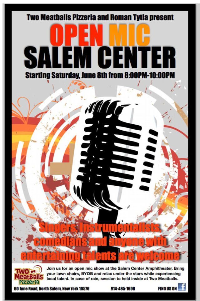Two Meatballs Pizzeria and North Salem resident Roman Tytla present an open mic night beginning June 8.