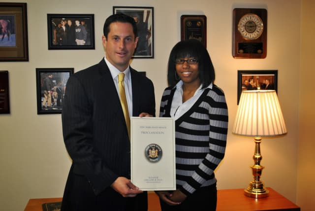"""Fox Lane student Elizabeth Stephenson of Mount Kisco was recently chosen by New York State Senator Greg Ball as """"Youth of the Year."""""""