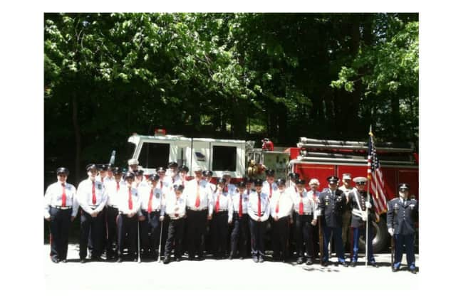 The Vista Fire Department posed for a photo before the Lewisboro Memorial Day Parade and ceremony.
