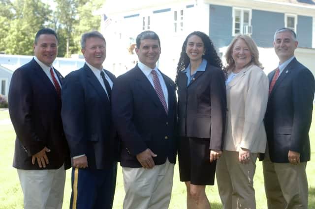 The Lewisboro Republican candidates are (from left)  Marc Seedorf, Frank Kelly, Tom Fischetti, Andrea Rendo, Deirdre Casper and Peter DeLucia.