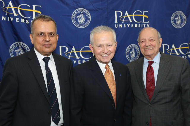 Ridgefield's Nicholas Donofrio, a former IBM executive, was honored recently by Pace University. He stands with Pace's Amar Gupta, left, and the school's president, Steven J. Friedman.