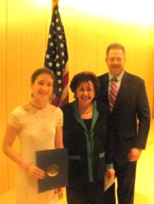 U.S. Military Academy student Lindsay Gabow will attend a military ethics program at Auschwitz. She's pictured here in 2012 being honored by Nita Lowey for her acceptance at the military academy.