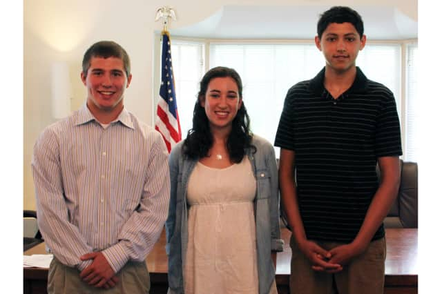 (from left) Christopher Manjuck, Gabrielle Froehlich and Gunner Rainford.