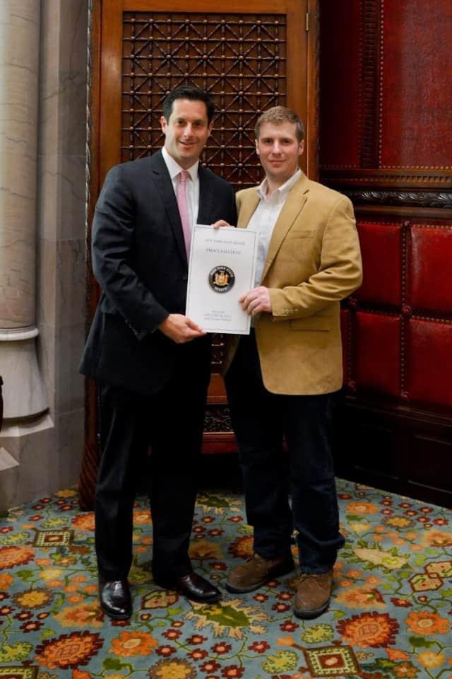 Senator Greg Ball (left) presented the proclamation to North Salem's Lt. Jake Hauser.