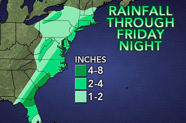 Fairfield County could see 2 to 4 inches of rain Friday into Saturday from the remnants of Tropical Storm Andrea.