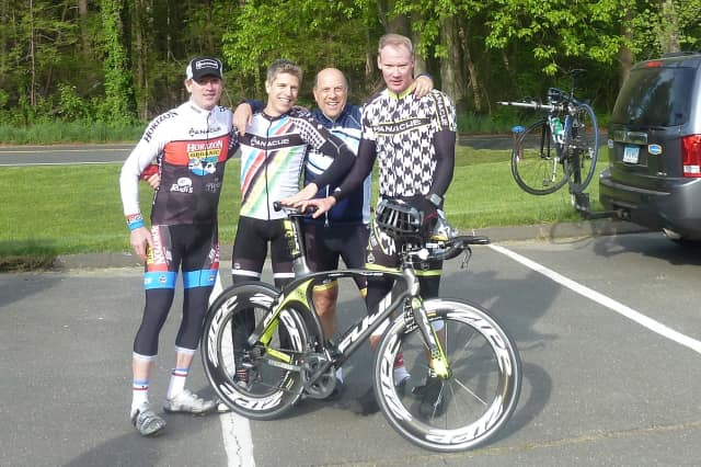 Fairfield's Tom Kottler, second from right, will compete in the Race Across America cycling event with (left to right) Andy Pemberton, Jeff Ragland of Westport and Adam Pemberton of Redding.