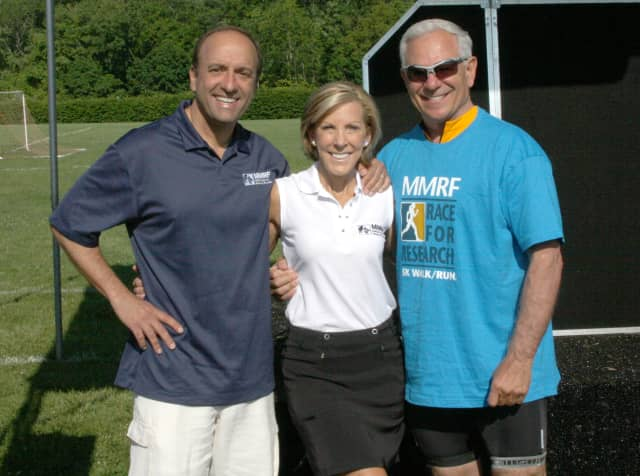 New Canaan residents Paul and Kathy Giusti of the Multiple Myeloma Research Foundation with baseball legend Bobby Valentine at the MMRF Race for Research: Tri-State 5K Walk/Run held June 9, 2013 in New Canaan, CT.