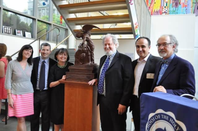 """Lulu Sandes, Colm MacMahon, Ann Sullivan, Antonio Rutigliano and Greg Wyatt at the unveiling of Wyatt's piece """"Two Sculptors"""" at School of the Holy Child in Rye."""