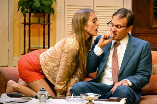 Lauren Currie Brown and Kevin Cristaldi perform in Last of the Red Hot Lovers at Croton Falls' Schoolhouse Theater.