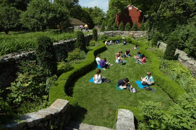 Students paint in the sunken garden at Weir Farm National Historic Park in Wilton and Ridgefield.