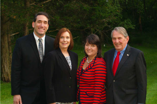 (from left) Richard Sklarin, Theresa Eaker, Lisa Wickersham and Peter Parsons are running on the Lewisboro Democratic ticket.