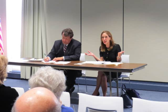 State Sen. George Latimer and Assemblywoman Amy Paulin held a public forum in Eastchester to discuss the proposed fire district election  change.