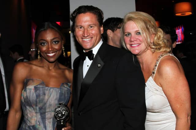 """Patina Miller, Tony Award winner for Best Actress in """"Pippin"""" with Ken Mahoney and Trish Mahoney."""