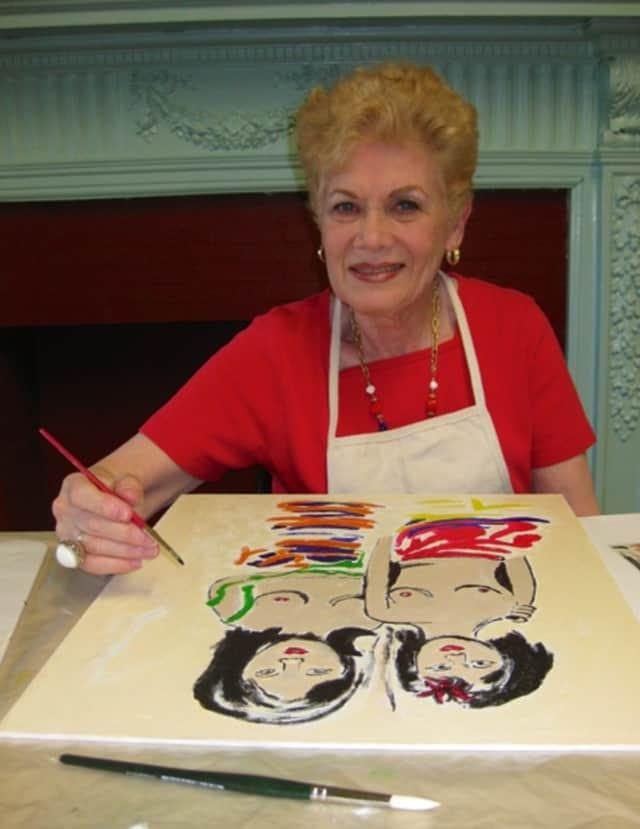 Mamaroneck Senior Artist Ruth Rutchik at work on her latest painting.