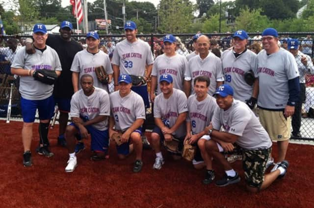 Participants in the 2015 WFAN All-Stars Celebrity Softball Game pose for a photo. This year's game starts at 6 p.m., Thursday.