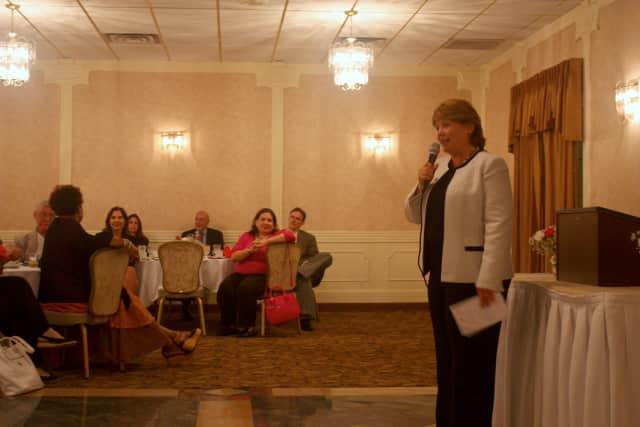 Peekskill Mayor Mary Foster speaks at the Peekskill Democratic City Committee's annual Meet The Candidates dinner last Thursday.