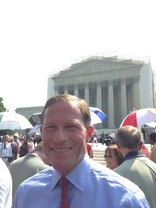 Sen. Richard Blumenthal (D-Conn.), who served as the state's attorney general when gay marriage was legalized, tweeted from the crowd outside the Supreme Court building Wednesday.