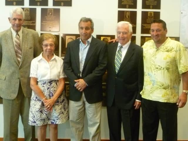 The 2013 Fairfield County Hall of Fame Class: Earl Lavery, Barbara Rioux (mother of Allyson), Dennis Paglialunga, Don Cook, and Mark Hirschbeck. Not Pictured: James Blake.