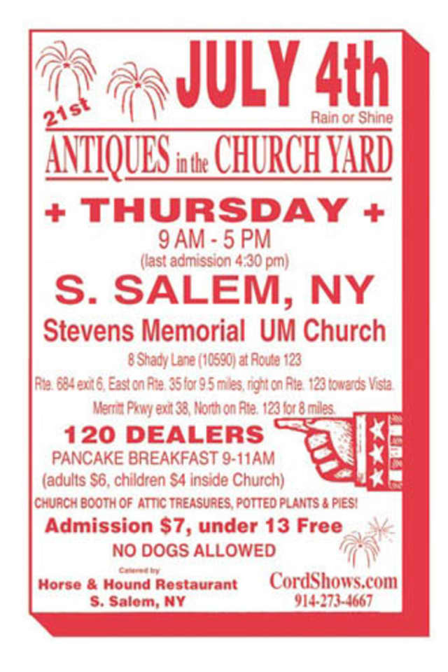 The 21st annual Antiques in the Church Yard takes place on Thursday at South Salem's Stevens Memorial United Methodist Church.