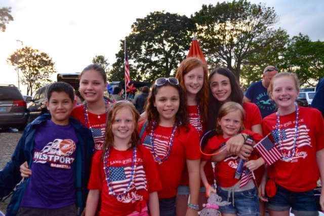 Red, white and blue were the colors of the day for this patriotic group of fireworks fans in Westport.