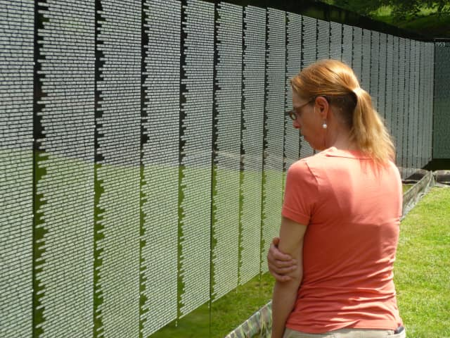 A replica of the Vietnam Veterans Memorial in Washington D.C. was erected and on exhibit in Hastings last week.