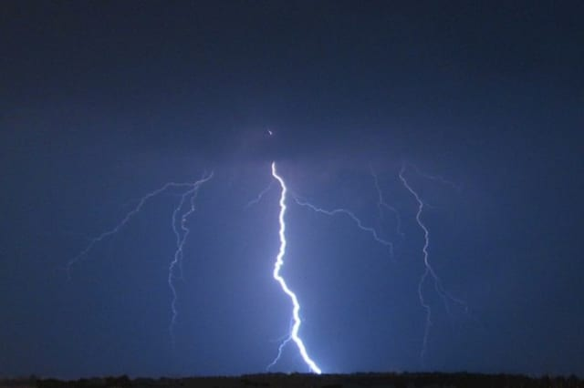 A woman was struck by lightning in Ridgefield during a fierce thunderstorm Monday.