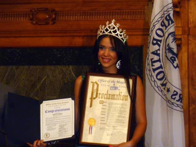 Kristy Abreu was crowned Miss Westchester in September 2012.  Shown here, following her win, she was honored at Yonkers City Hall.