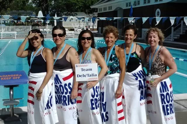 Teams of swimmers from all over Westchester County like this one from Mamaroneck will raise funds to fight cancer with Swim Across America-Long Island Sound events.