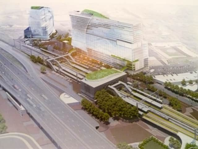 This rendering shows how the area near the Stamford Transportation Center will look after a massive transit-oriented development project is complete.