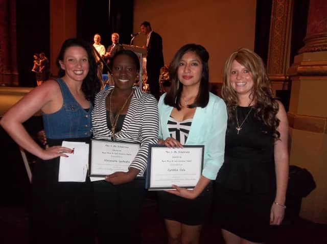 Peekskill's Brady sisters pose at the This Is Me Scholarship Awards ceremony earlier this month. From left to right are Caitlin Brady, Nosazena Iyekegbe, Cynthia Vele and Lauren Brady.