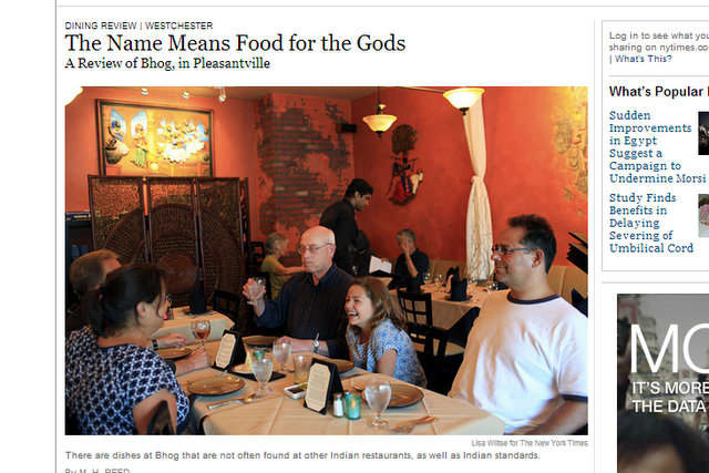 """Bhog, an Indian restaurant on Wheeler Avenue which opened about three months ago, earned a """"very good"""" rating from the New York Times on Thursday."""
