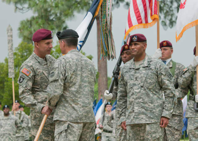 Buchanan native Lt. Gen. Joseph Anderson, left, receives the XVIII Airborne Corps colors from Gen. Daniel B. Allyn as Anderson  assumes command of the XVIII Airborne Corps at Fort Bragg, N.C.