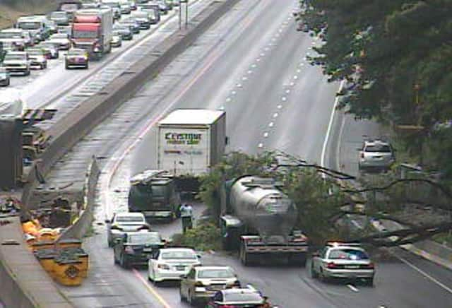 A tree blocking two lanes of northbound I-95 near Exit 5 in Greenwich on Thursday, causing huge traffic backups.
