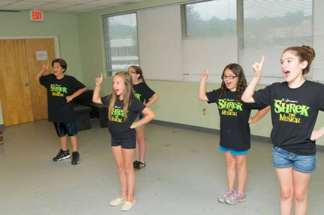 """Members of the Random Farms Kids Theater cast of """"Shrek: The Musical"""" from Rivertowns and Greenburgh rehearse for a July 26 opening."""