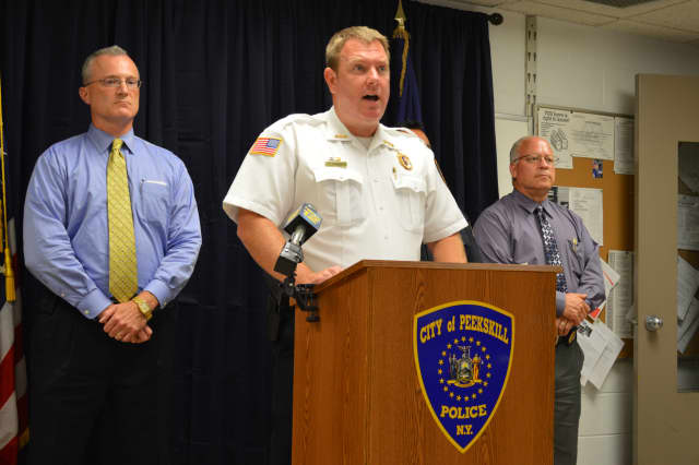 Peekskill Police Chief Eric Johansen addresses the media Monday afternoon to announce police identified the body recovered from the Hudson River as Cortlandt Manor's Michael Varella.