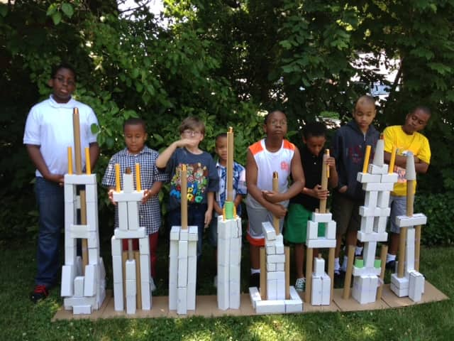 Children in New York City designed and built skscrapers as part of ArchForKids programs last month.