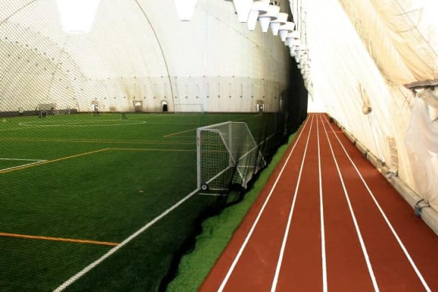 This is a look at the inside of the Danbury Sports Dome, which officially opened on Monday.