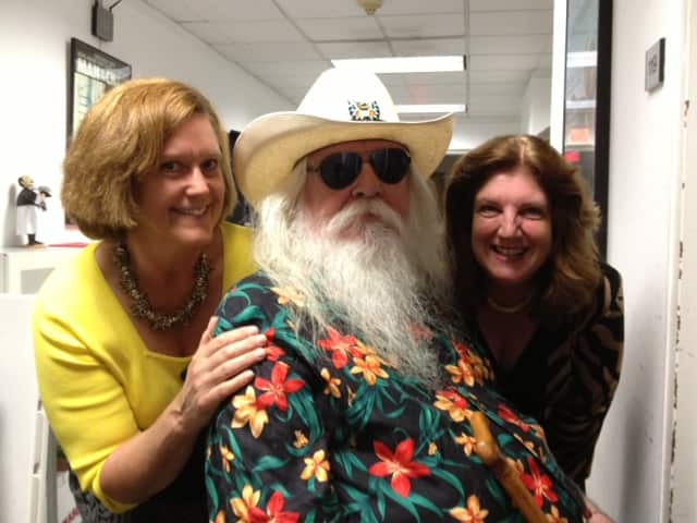 Ann Lathrop, sponsor, Leon Russell, and Marion Roth, executive director of the Ridgefield Chamber of Commerce, meet up at the Playhouse.