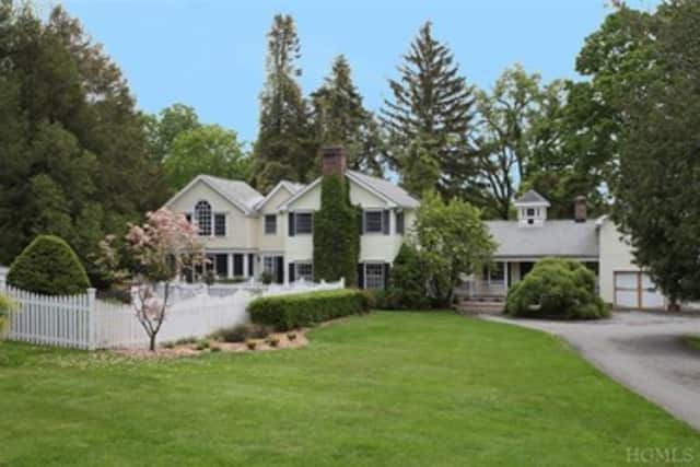 This house at 2 White Birch Road in Pound Ridge is open for viewing this Sunday.